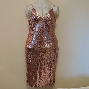 Pink sequin cocktail dress asos curve 16